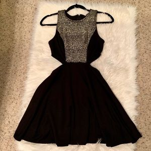 Zara Black & Gold cut out side dress